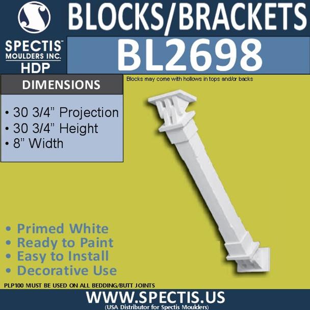 "BL2698 Eave Block or Bracket 8""W x 30.75""H x 30.75"" P"