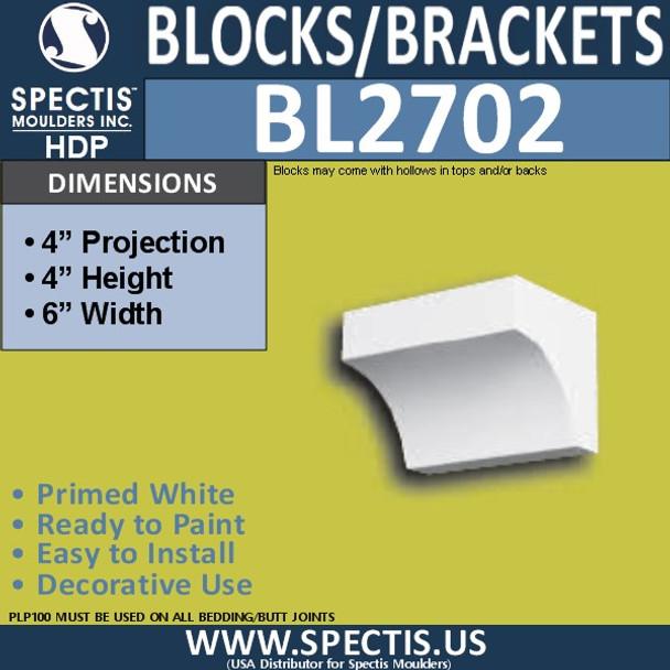 "BL2702 Eave Block or Bracket 6""W x 4""H x 4"" P"