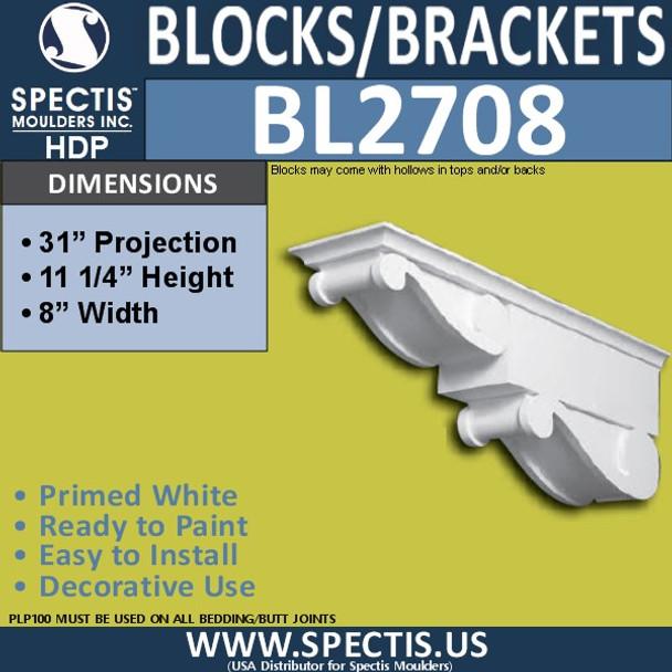 "BL2708 Eave Block or Bracket 6""W x 4""H x 4"" P"