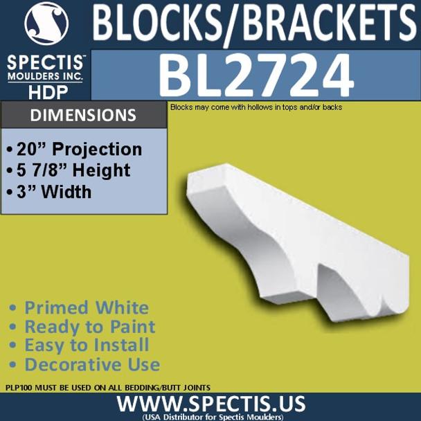 "BL2724 Eave Block or Bracket 3""W x 6""H x 20"" P"