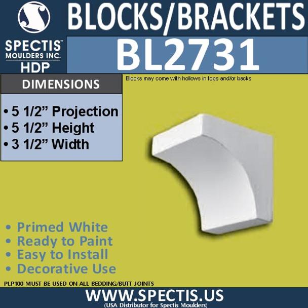 "BL2731 Eave Block or Bracket 3.5""W x 5.5""H x 5.5"" P"