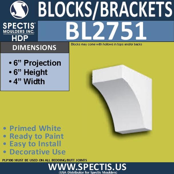 "BL2751 Eave Block or Bracket 4""W x 6""H x 6"" P"