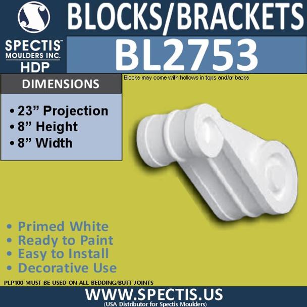 "BL2753 Eave Block or Bracket 8""W x 8""H x 23"" P"