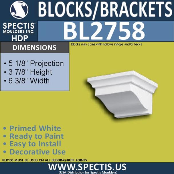 "BL2758 Eave Block or Bracket 5.25""W x 3.9""H x 5.2"" P"