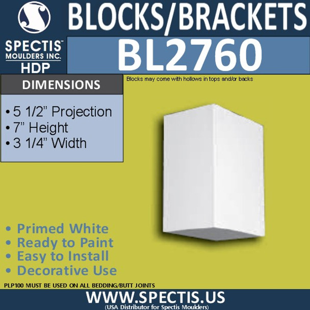 "BL2760 Eave Block or Bracket 3.75""W x 7""H x 5.5"" P"