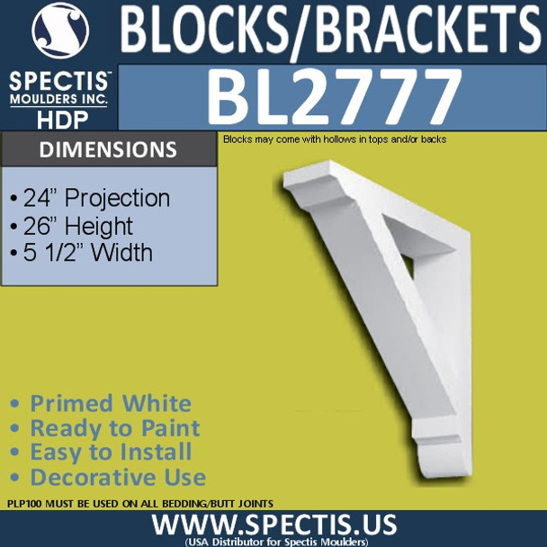 "BL2777 Eave Block or Bracket 5.5""W x 26""H x 24"" P"