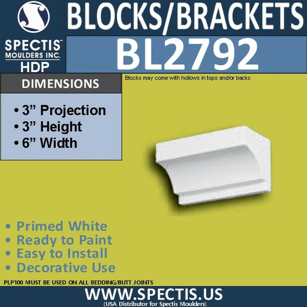 "BL2792 Eave Block or Bracket 6""W x 3""H x 3"" P"