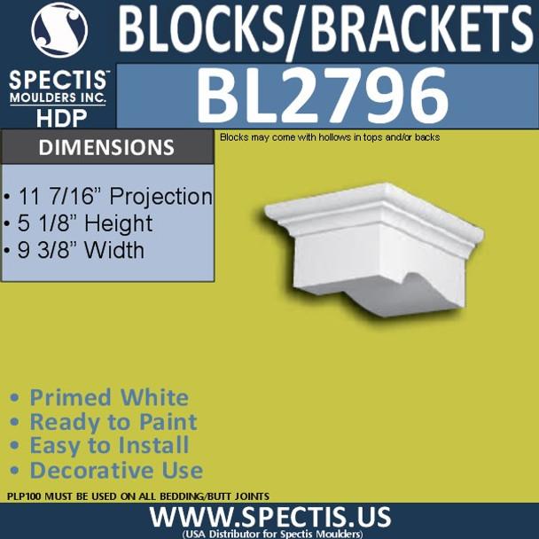 "BL2796 Eave Block or Bracket 9.3""W x 5.13""H x 11.5"" P"