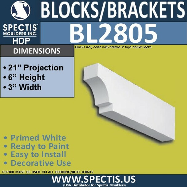 "BL2805 Eave Block or Bracket 3""W x 6""H x 21"" P"