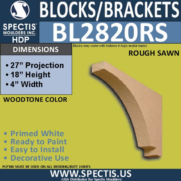 "BL2820RS Rough Sawn Bracket 4""W x 18""H x 27"" P"