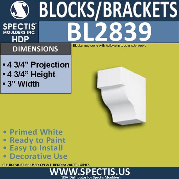 "BL2839 Eave Block or Bracket 3""W x 4.75""H x 4.75"" P"