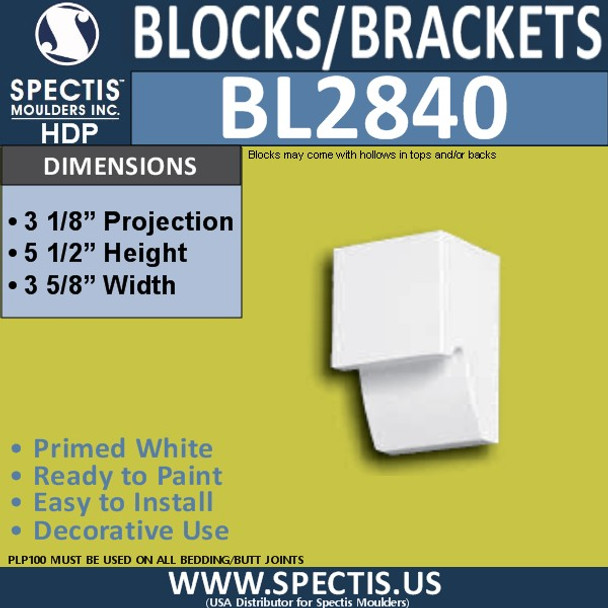 "BL2840 Eave Block or Bracket 3.6""W x 5.5""H x 3.1"" P"