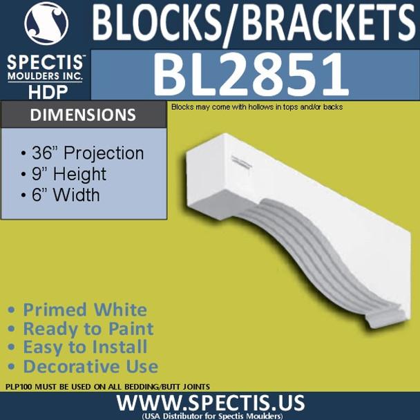 "BL2851 Eave Block or Bracket 6""W x 9""H x 36"" P"