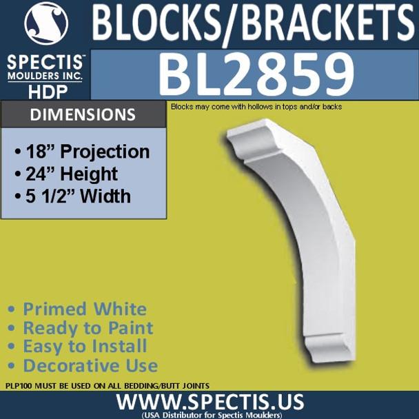 "BL2859 Eave Block or Bracket 5.5""W x 24""H x 18"" P"