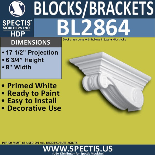 "BL2864 Eave Block or Bracket 8""W x 6.75""H x 17.5"" P"