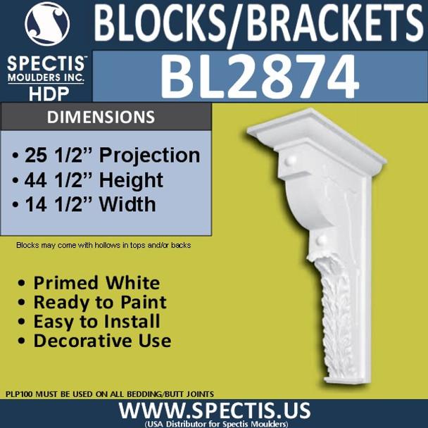 "BL2874 Eave Block or Bracket 14.5""W x 44.5""H x 23.5"" P"