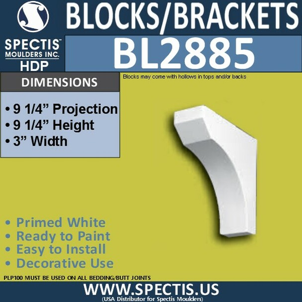 "BL2885 Eave Block or Bracket 3""W x 9.25""H x 9.25"" P"