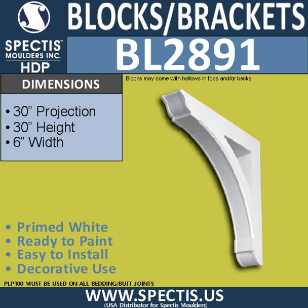 "BL2891 Eave Block or Bracket 6""W x 30""H x 30"" P"