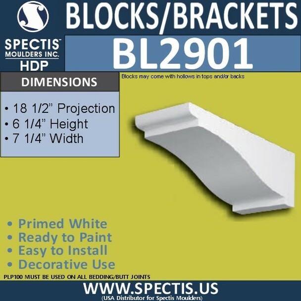 "BL2901 Eave Block or Bracket 7.25""W x 6.25""H x 18.5"" P"