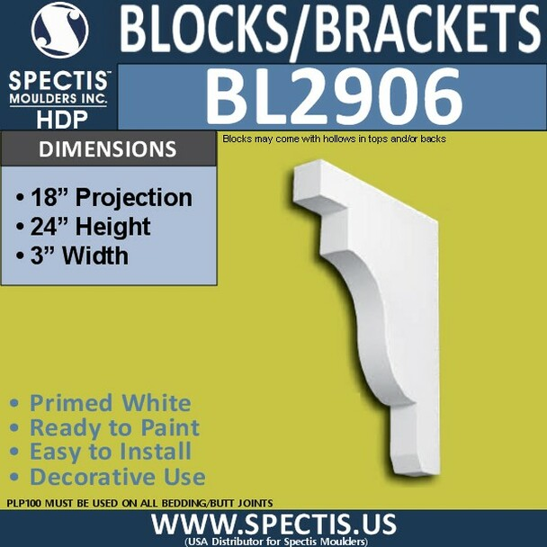 "BL2906 Eave Block or Bracket 3""W x 24""H x 18"" P"