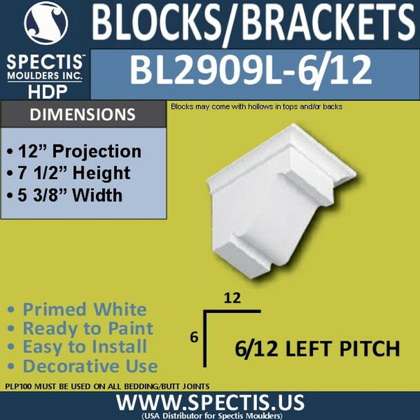 """BL2909L-6/12 Pitch Eave Bracket 5.25""""W x 7.5""""H x 12"""" P"""