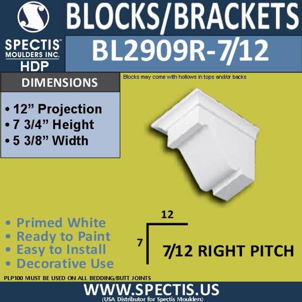 "BL2909R-7/12 Pitch Eave Bracket 5.3""W x 7.75""H x 12"" P"