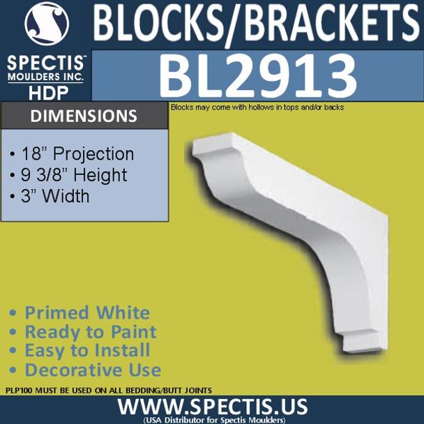 "BL2913 Eave Block or Bracket 3""W x 9.3""H x 18"" P"