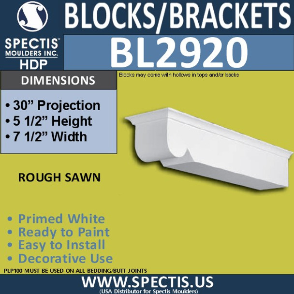 "BL2920 Eave Block or Bracket 7.5""W x 5.5""H x 30"" P"