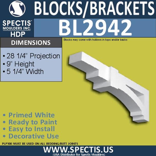 "BL2942 Eave Block or Bracket 5.25""W x 28.25""H x 9"" P"