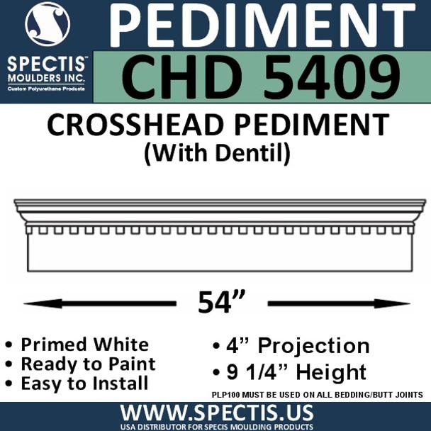 "CHD5409 Crosshead Pediment with Dentil 9 1/4"" x 54"""