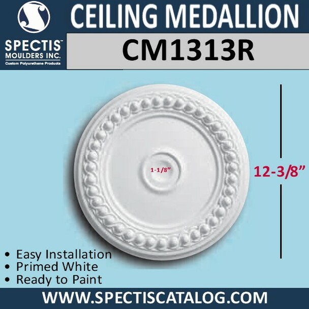 "CM1313R Decorative Ceiling Medallion 1-1/8"" Hole x 12-3/8"""