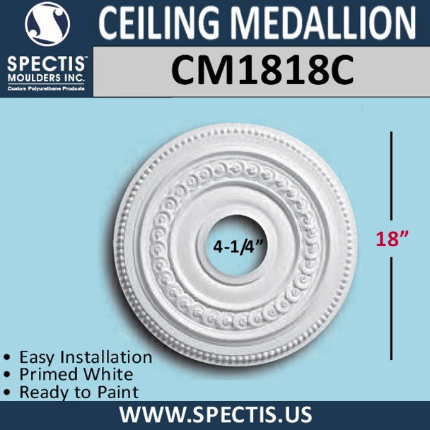 "CM1818C Decorative Ceiling Medallion 4.25"" Hole x 18"" Round"