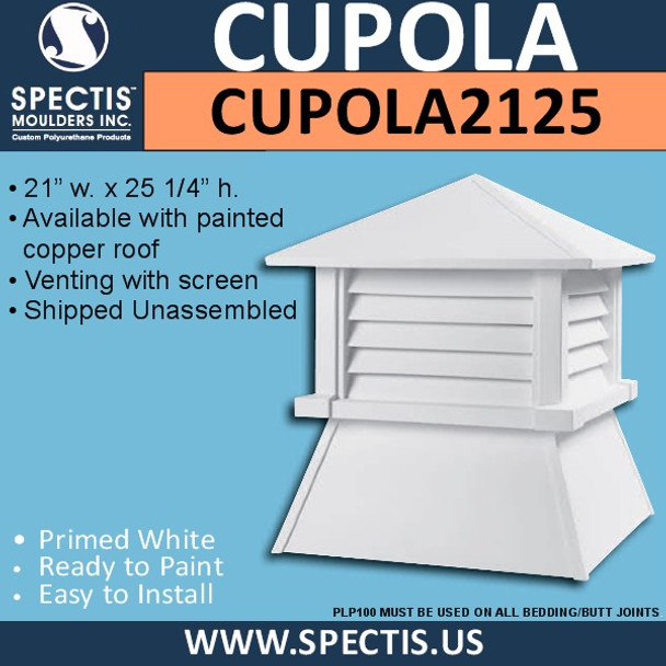 "CUPOLA2125 Urethane Rooftop Cupola 21"" W x 25 1/4 H"""