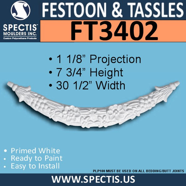 """FT3402 30 1/2"""" x 7 3/4"""" Curved Urethane Festoon"""