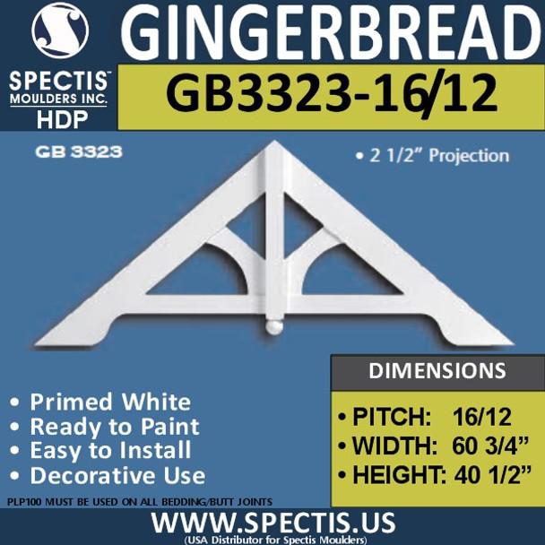 "GB3323-16-12 Gingerbread Gable Trim 60 3/4""W x 40 1/2""H"