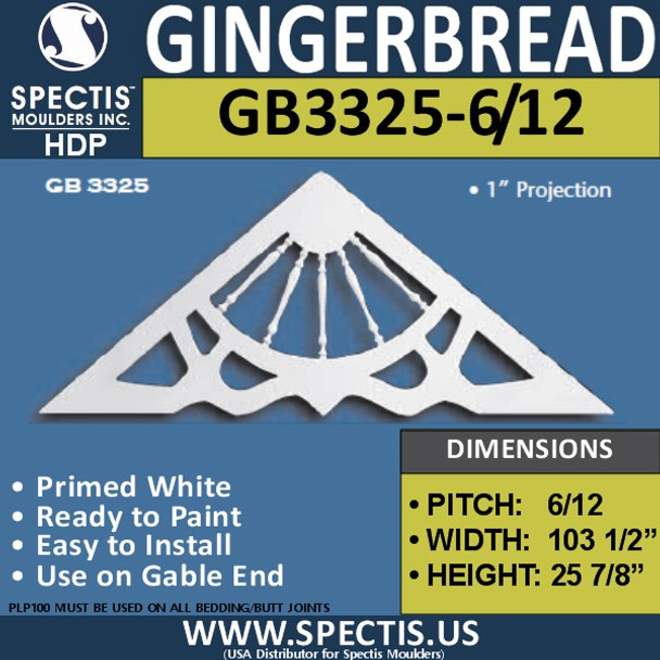 "GB3325-6-12 Gingerbread Gable Trim 103 1/2""W x 25 7/8""H"