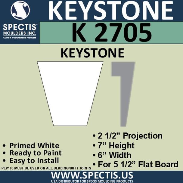 """K2705 Spectis Urethane Keystone 2 1/2""""P X 7""""H X 6""""W"""