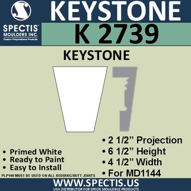 """K2739 Spectis Urethane Keystone 2 1/2""""P X 6 1/2""""H X 4.5""""W"""