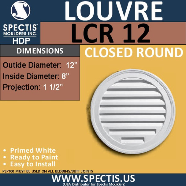 "LCR12 Round Gable Louver Vent - Closed - 12"" Diameter"