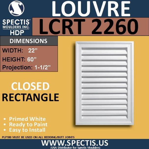 LCRT2260 Rectangle Gable Louver Vent - Closed - 22 x 60