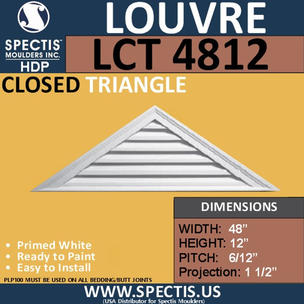 LCT4812 Triangle Gable Louver Vent - Closed - 48 x 12