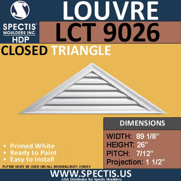 LCT9026 Triangle Gable Louver Vent - Closed - 89 1/8 x 26