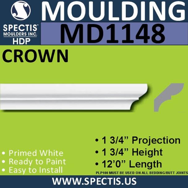 """MD1148 Spectis Crown Molding Trim 1 3/4""""P x 1 3/4""""H x 144""""L"""