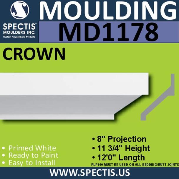 """MD1178 Spectis Crown Molding Trim 8""""P x 11 3/4""""H x 144""""L"""
