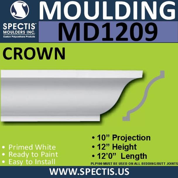"""MD1209 Spectis Crown Molding Trim 10""""P x 12""""H x 144""""L"""