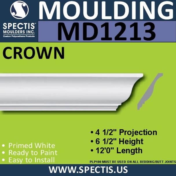 """MD1213 Spectis Crown Molding Trim 4 1/2""""P x 6 1/2""""H x 144""""L"""