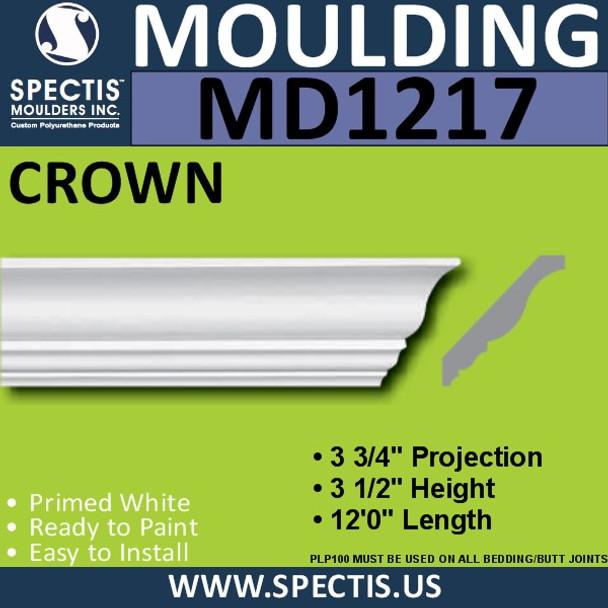 """MD1217 Spectis Crown Molding Trim 3 3/4""""P x 3 1/2""""H x 144""""L"""