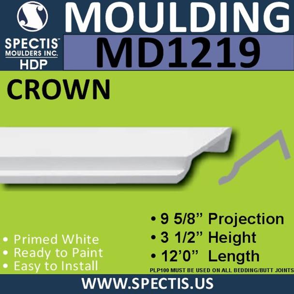 """MD1219 Spectis Crown Molding Trim 9 5/8""""P x 3 1/2""""H x 144""""L"""