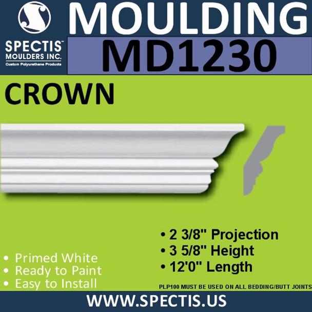 """MD1230 Spectis Crown Molding Trim 2 3/8""""P x 3 5/8""""H x 144""""L"""