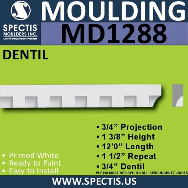 """MD1288 Spectis Molding Dentil Trim 3/4""""P x 1 3/8""""H x 7' 11""""L"""